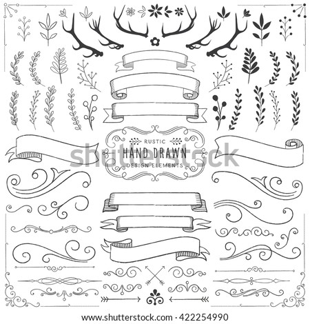 Shutterstock Rustic Clipart Set - Rustic ornaments, florals, banners and scrolls