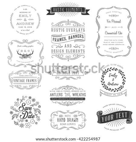 Rustic Clipart Set - Rustic ornaments, frames, banners and florals