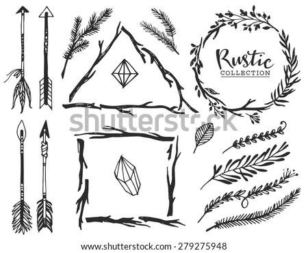 Rustic decorative elements with arrow and lettering. Hand drawn vintage vector design set.