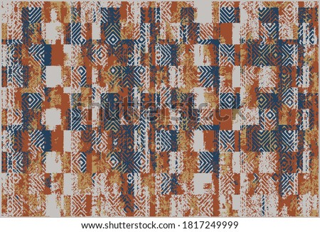 Rustic distressed abstract stripe worn, brush  effect vertical stripe tribal art collage digital print pattern design in vector . art design for carpet, scarf, blanket, cover, rug