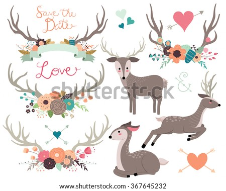 Rustic Floral Woodland Wedding Vector Set