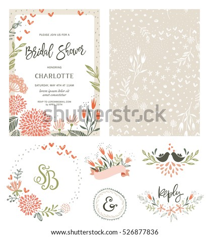 Shutterstock Rustic hand drawn Bridal Shower invitation with seamless background and floral design elements. Vector illustration.