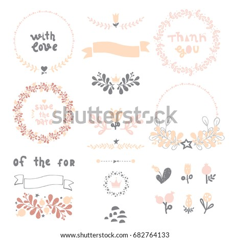 Rustic hand sketched wedding elements set. Floral doodles, branches, flowers, laurels, banners and frames.  Ideal for Save the Date cards, Wedding invitations, Thank You cards and RSVP cards #682764133