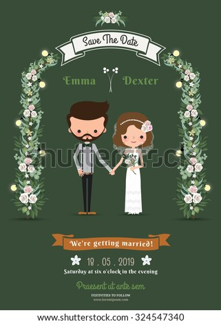 Rustic hipster cartoon couple wedding card on green background #324547340