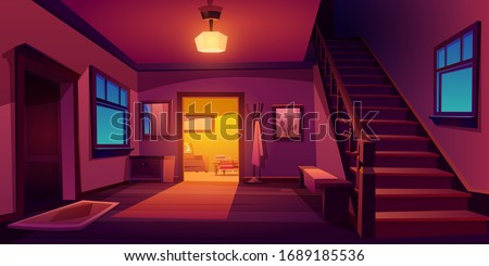 Rustic house hallway entrance night interior with wooden stairs and furniture. Western style apartment with door, hanger, carpet, table and cactus picture on wall. Cartoon vector illustration.