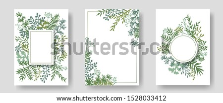 Rustic invitation cards with herbal twig branches wreath and corners border frames. Rustic vintage bouquets with fern fronds, mistletoe twigs, dandelions, olive, willow, palm branches in green colors. Foto stock ©