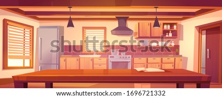 Rustic kitchen empty interior with wooden table, furniture and appliances. Oven, range hood, refrigerator and utensil. Cooking equipment in retro vintage style, jalousie. Cartoon vector illustration