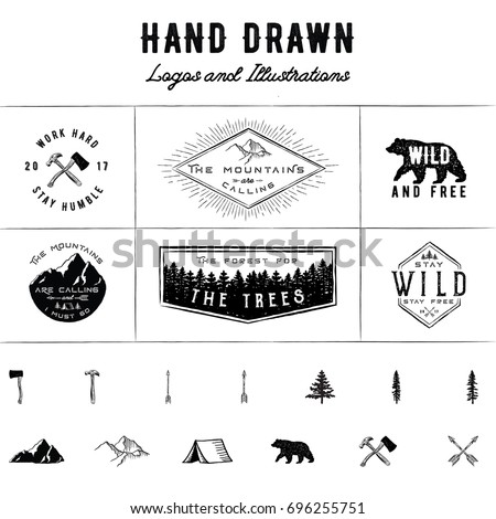 rustic logos and illustrations  ...