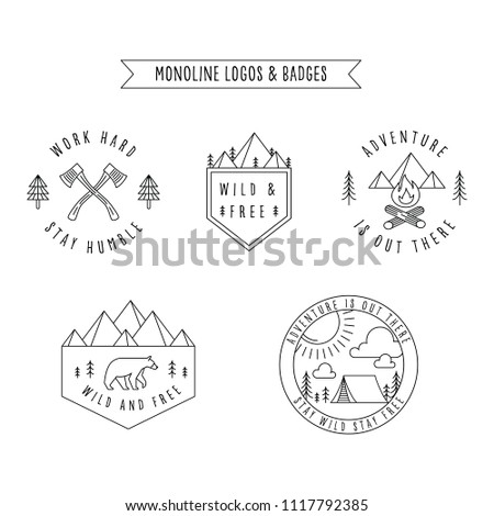 Rustic Monoline Badges Set of rustic monoline badge and logo designs depicting nature and the great outdoors.