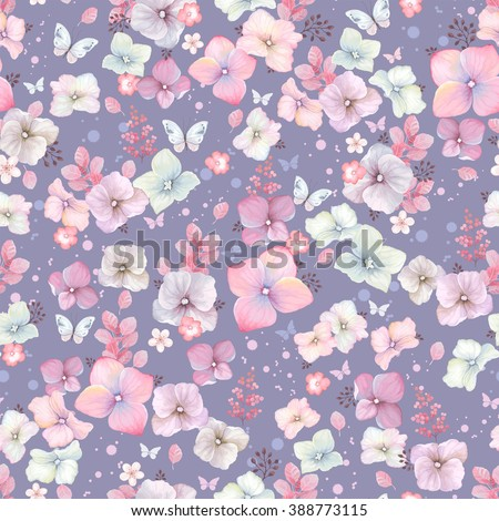 Rustic seamless pattern with flowers Hydrangea and butterflies, vector illustration in vintage style.