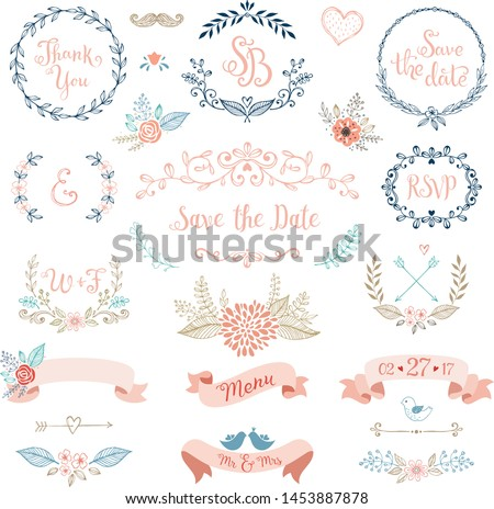 Rustic Wedding Design Set. Wedding card with flower rose, leaves. Wedding ornament concept. Floral poster, invite. Vector decorative greeting card or invitation design background #1453887878