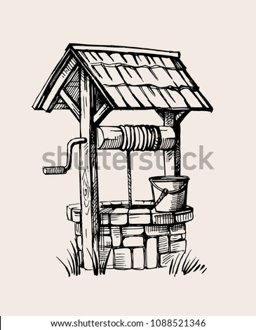 Rustic well sketch vector illustration hand drawn