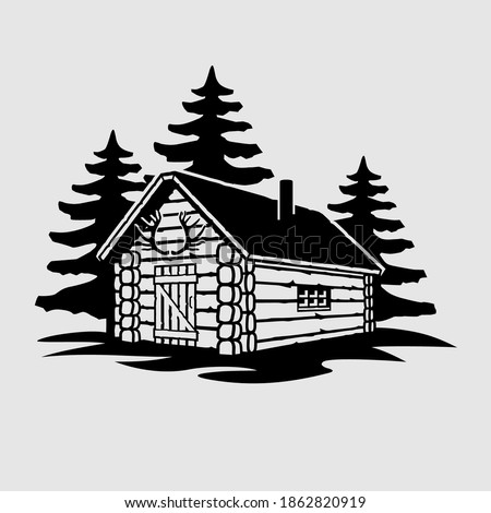 Rustic Wooden Hunting Log Cabin Photo stock ©