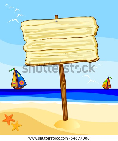 Rustic wooden sign on the beach, vector