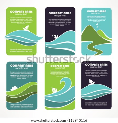 rustically landscapes, vector collection of business cards, stickers and emblems