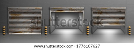 Rusty garage doors, warehouse entrances with ferruginous close and open roller shutters. Empty hangar boxes, Realistic 3d vector storage for car parking, rooms for repair service with metal doorways