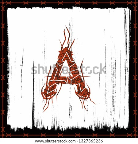 rusty metal band style letter