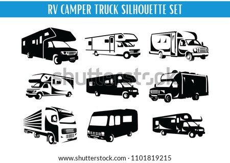 Stock Vector Rv Camper And Truck Silhouette Set