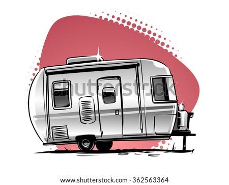 Stock Vector Rv Camper Trailer Icon 362563364
