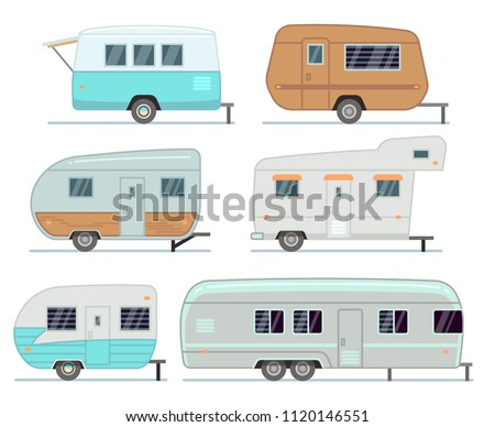 Rv camping trailers, travel mobile home, caravan vector set isolated. Home camper for travel, trailer mobile of collection illustration