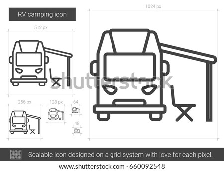 Stock Vector Rv Camping Line Icon Isolated