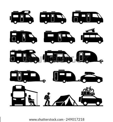 Rv cars Recreational Vehicles Camper Vans Caravans Icons