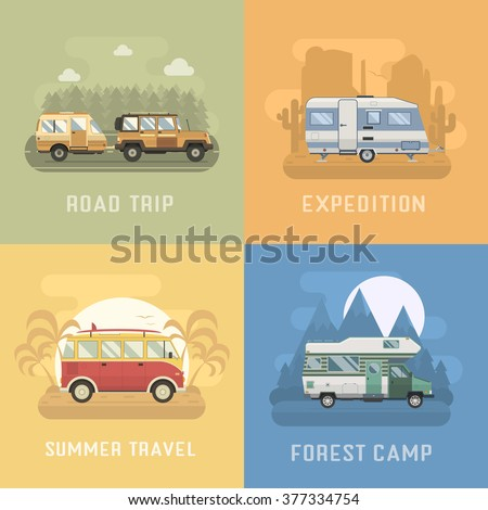 rv travel concept set camping