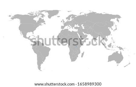 Rwanda highlighted blue on world map. African country. Perfect for business concepts, backgrounds, backdrop, poster, chart, banner, label, sticker and wallpapers.