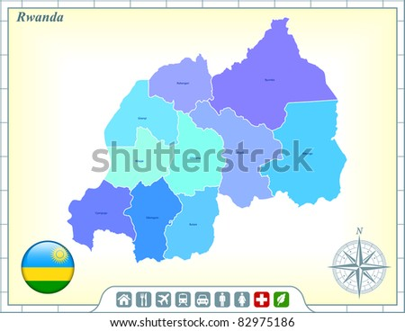 Rwanda Map with Flag Buttons and Assistance & Activates Icons Original Illustration