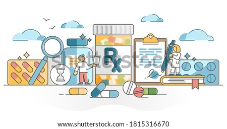 RX as medication pills prescription for treatment from doctor outline concept. Drugs, capsule or antibiotic as painkiller cure or medicine dose for disease vector illustration. Receipt for apothecary. Сток-фото ©