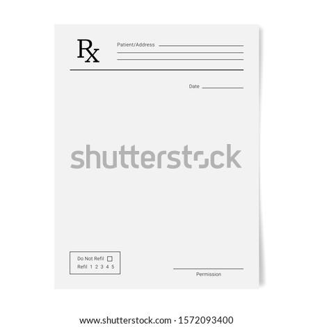 Rx pad template. Medical regular prescription form