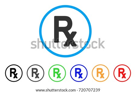 Rx Symbol rounded icon. Style is a flat Rx symbol gray symbol inside light blue circle with black, gray, green, blue, red, orange variants. Vector designed for web and software interfaces.