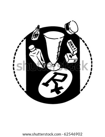 RX With Medical Supplies - Retro Clipart Illustration
