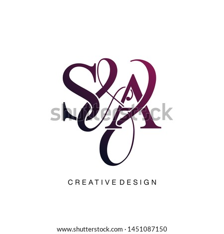 S & A / SA logo initial vector mark. Initial letter S and A SA logo luxury vector logo template. Stok fotoğraf ©