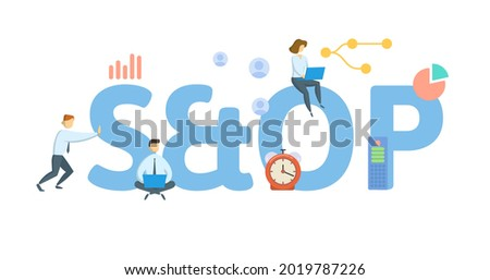 S and OP, sales and operations planning. Concept with keywords, people and icons. Flat vector illustration. Isolated on white. Stock fotó ©
