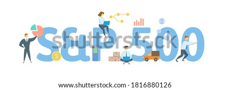 S and P 500, stock market index. Concept with keyword, people and icons. Flat vector illustration. Isolated on white background. Stock fotó ©