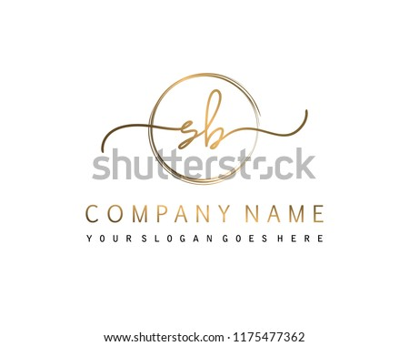 S B Initial handwriting logo vector