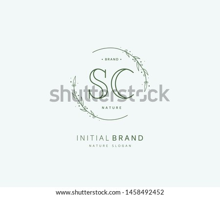 S C SC Beauty vector initial logo, handwriting logo of initial signature, wedding, fashion, jewerly, boutique, floral and botanical with creative template for any company or business.