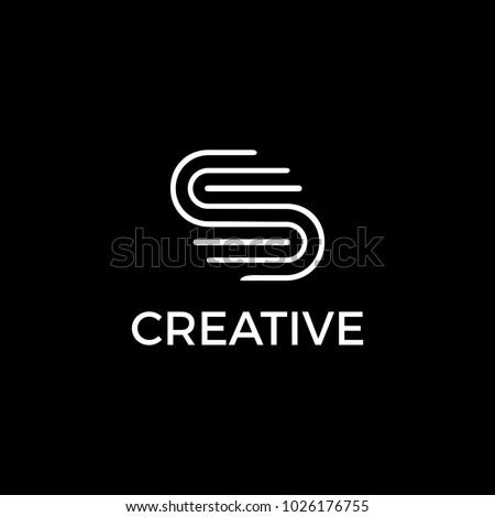 S creative logo in black and white. Stok fotoğraf ©