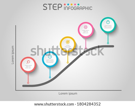 S-curve chart shape elements with steps,road map,options,graph,milestone,processes or workflow.Business data visualization.Creative step infographic template for presentation,vector illustration. Stock fotó ©
