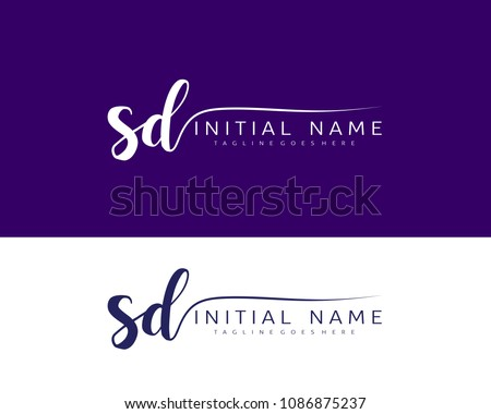 S D Initial handwriting logo vector. Hand lettering for designs. Zdjęcia stock ©