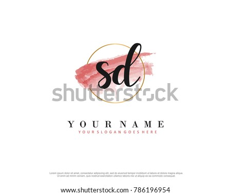 Stock Vector S D Initial Water Color Logo Template