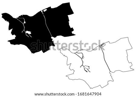 s-Hertogenbosch City (Kingdom of the Netherlands, North Brabant, Holland) map vector illustration, scribble sketch City of s Hertogenbosch or Den Bosch map