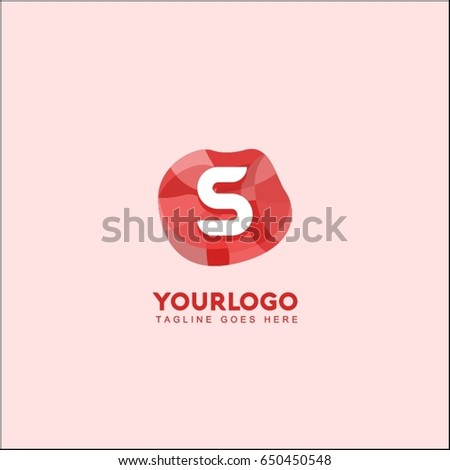 S letter abstract red stone and diamond logo symbol. Isometric circle line logotype fashion. Brand identity for your business