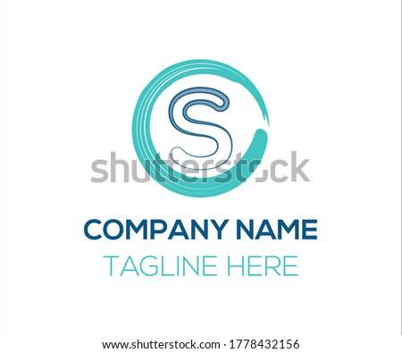 S letter Brush Stroke Logo Design With Circle Brush vector template Zdjęcia stock ©