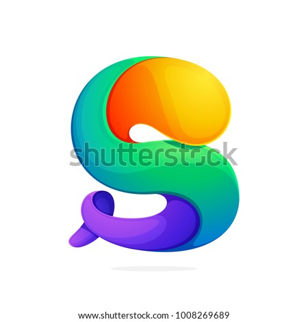 S letter colorful logo from a twisted line. Font style, vector design template elements for your application or corporate identity.
