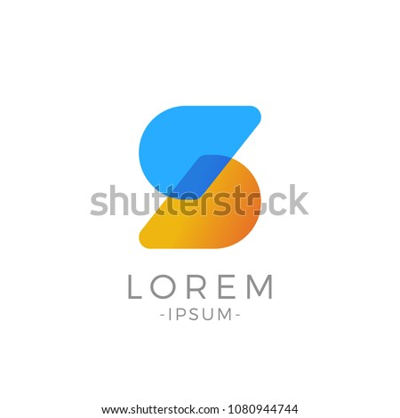 S Letter Initial logo. Abstract Modern duo tone typography vector design template