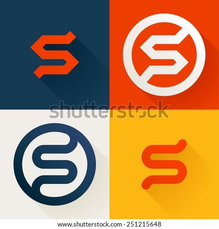 s letter line logo set  design