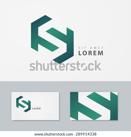 S letter logo business card. Vector template