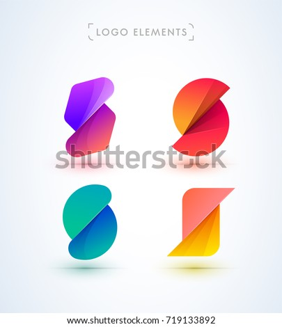 S letter logo collection. Vector abstract material design style